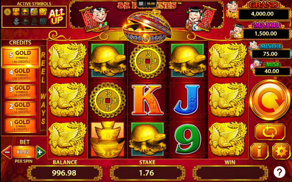 88 Fortunes Slot Reels