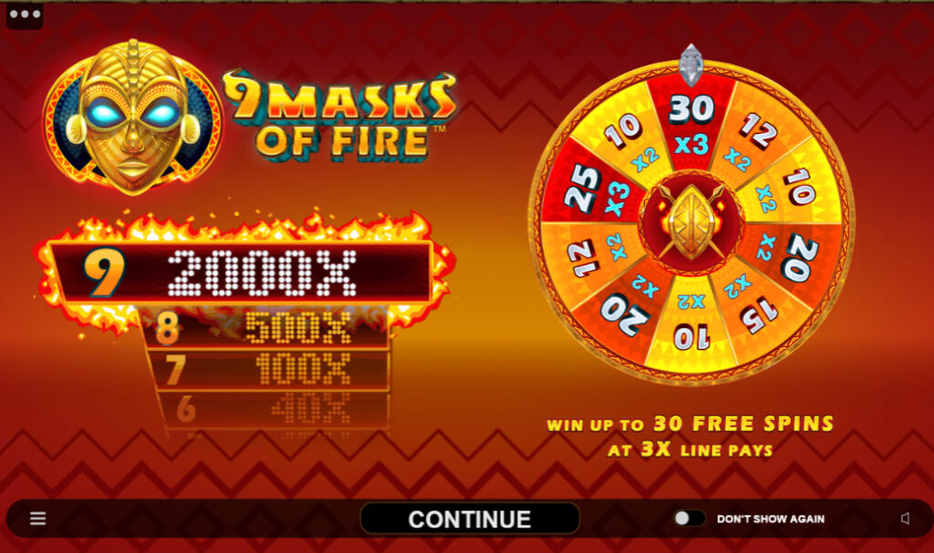 Slot 9 Masks of Fire Free Spins