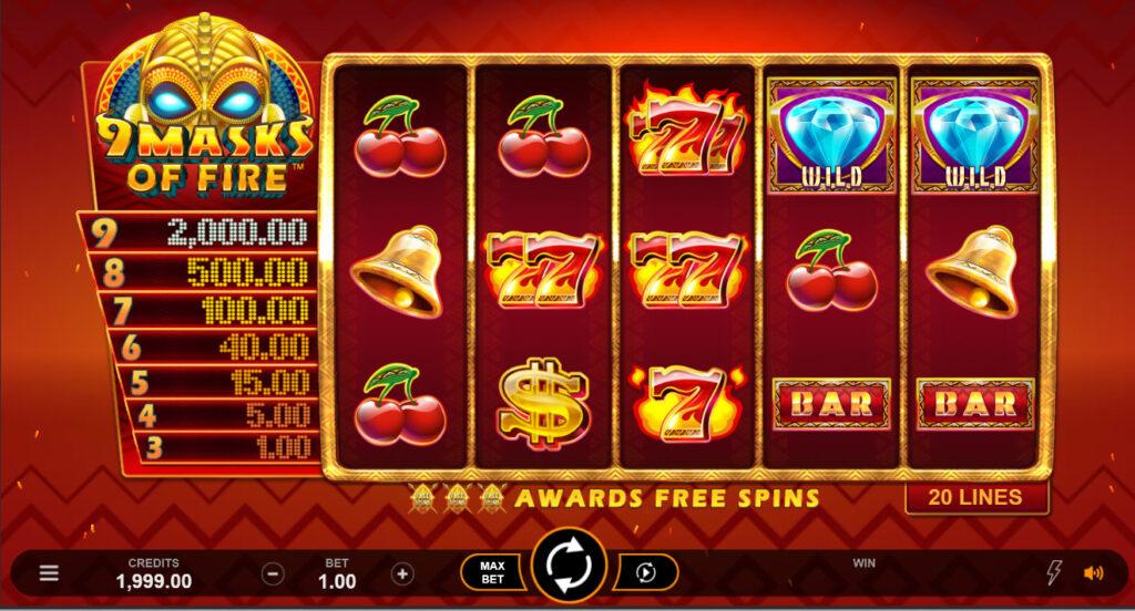 Slot 9 Masks of Fire reels